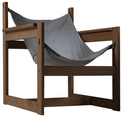 Arredamento - Poltrone design  - Poltrona Pelicano di Objekto - Struttura in noce/Fodero in cotone grigio blu - Cotone, Noce