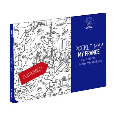Poster à colorier Pocket Map - France / 52 x 38 cm - OMY Design & Play blanc,noir en papier
