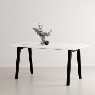 Furniture - Dining Tables - New Modern Rectangular table - / 160 x 95 cm - Recycled plastic / 6 to 8 people by TIPTOE - Graphite black - Powder coated steel, Recycled plastic