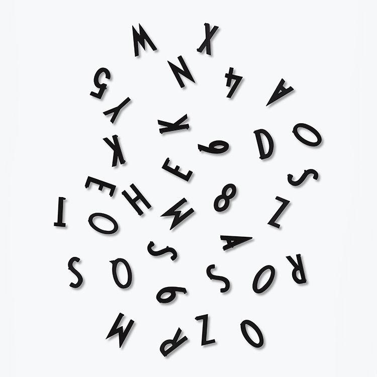 Interni - Promemoria, Calendari & Lavagne - Set Chiffres & Lettres Small - by Arne Jacobsen / Per pannello traforato di Design Letters - Nero - Plastica