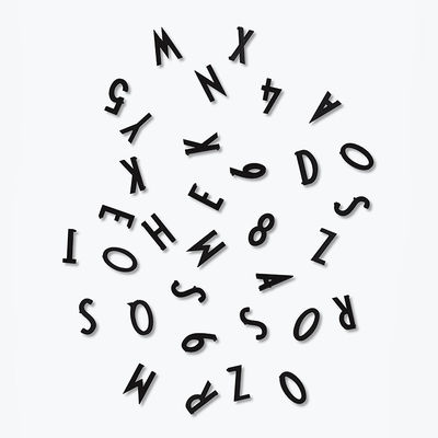 Déco - Mémos, ardoises & calendriers - Set Chiffres & Lettres Small / Pour panneau perforé - Design Letters - Noir - Plastique