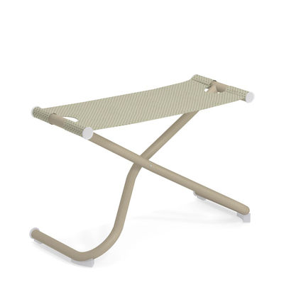 Möbel - Hocker - Snooze Sitzkissen / Fußablage - zusammenklappbar - Emu - Beige / Gestell taupe - gefirnister Stahl, Tissu technique