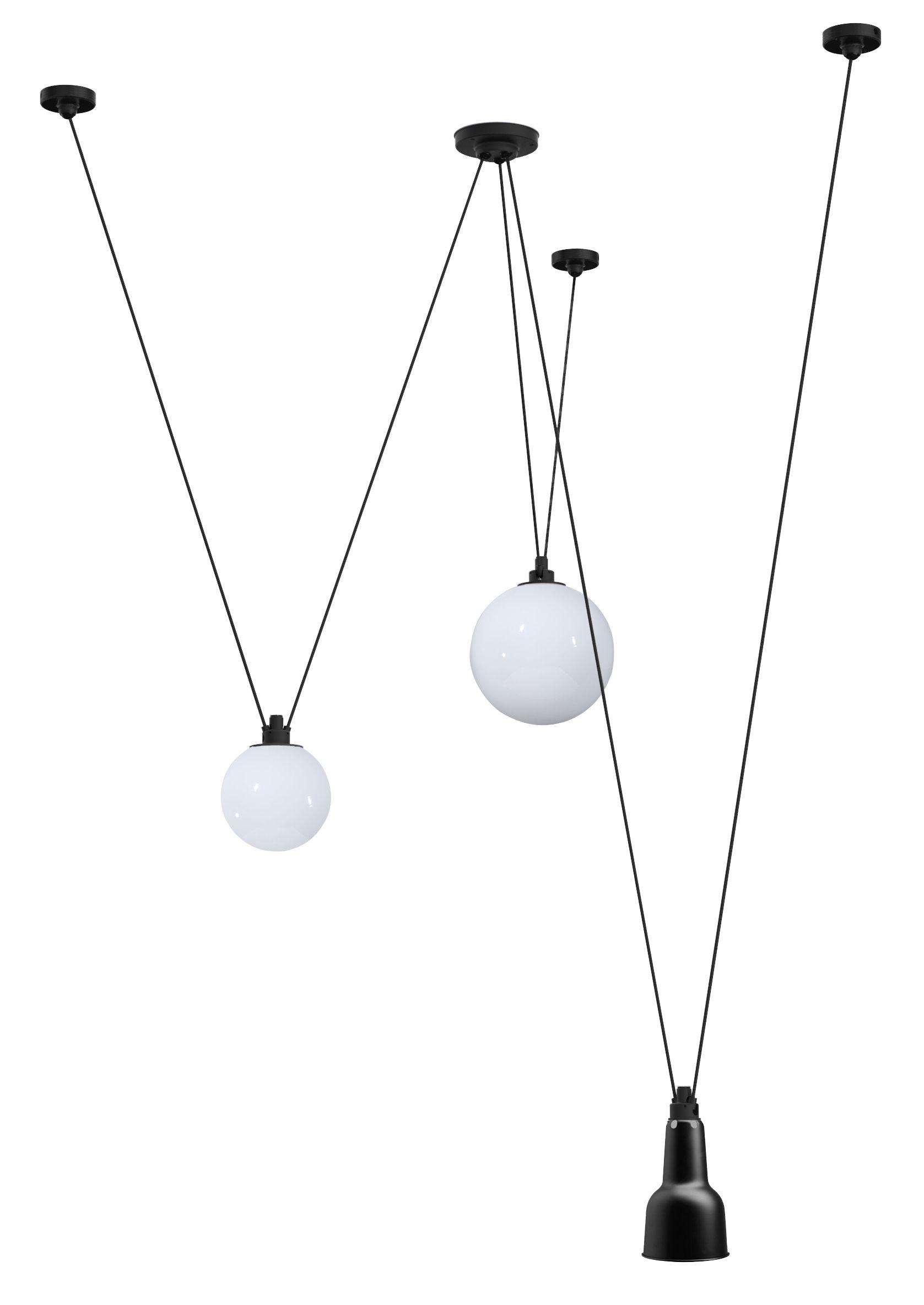Illuminazione - Lampadari - Sospensione Acrobate N°325 / Lampade Gras - 3 paralumi vetro & metallo - DCW edizioni - Nero / Vetro Bianco - Acciaio verniciato, Vetro