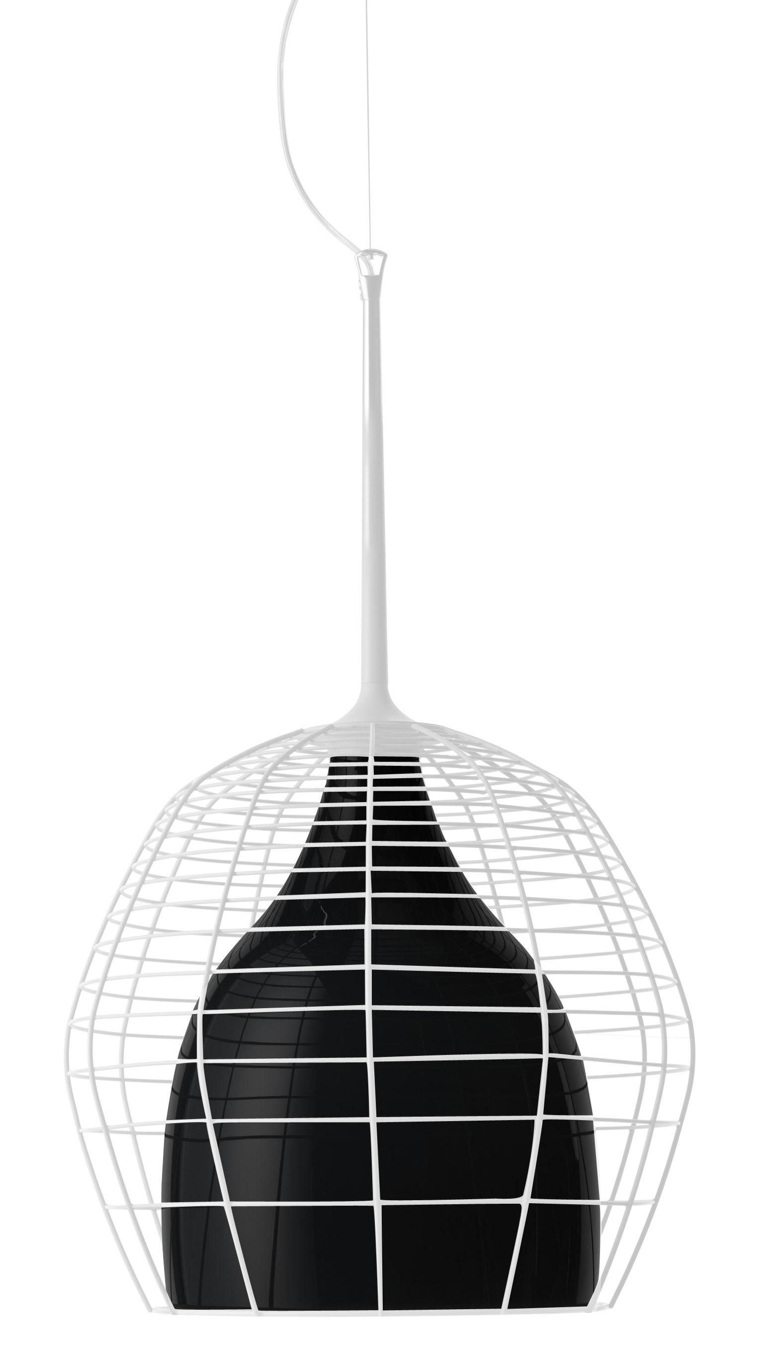Illuminazione - Lampadari - Sospensione Cage - Ø 46 cm di Diesel with Foscarini - Gabbia bianca/paralume interno nero - metallo laccato, vetro soffiato