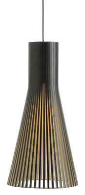 Illuminazione - Lampadari - Sospensione Secto L - / Ø 30 cm di Secto Design - Nero / Cavo nero - Doghe in laminato di betulla, Tessuto