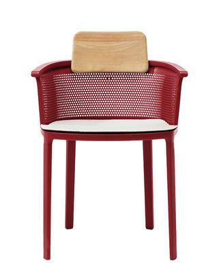Möbel - Stühle  - Nicolette Stapelbarer Sessel / Aluminium & Teakholz - Ethimo - Rot & Teakholz / Kissen weiß - Lackiertes Aluminiumguss, Natürliches Teakholz, Polyacryl-Gewebe
