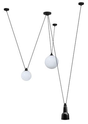 Luminaire - Suspensions - Suspension Acrobate N°325 / Lampe Gras - 3 abat-jours verre & métal - DCW éditions - Noir / Verre blanc - Acier peint, Verre