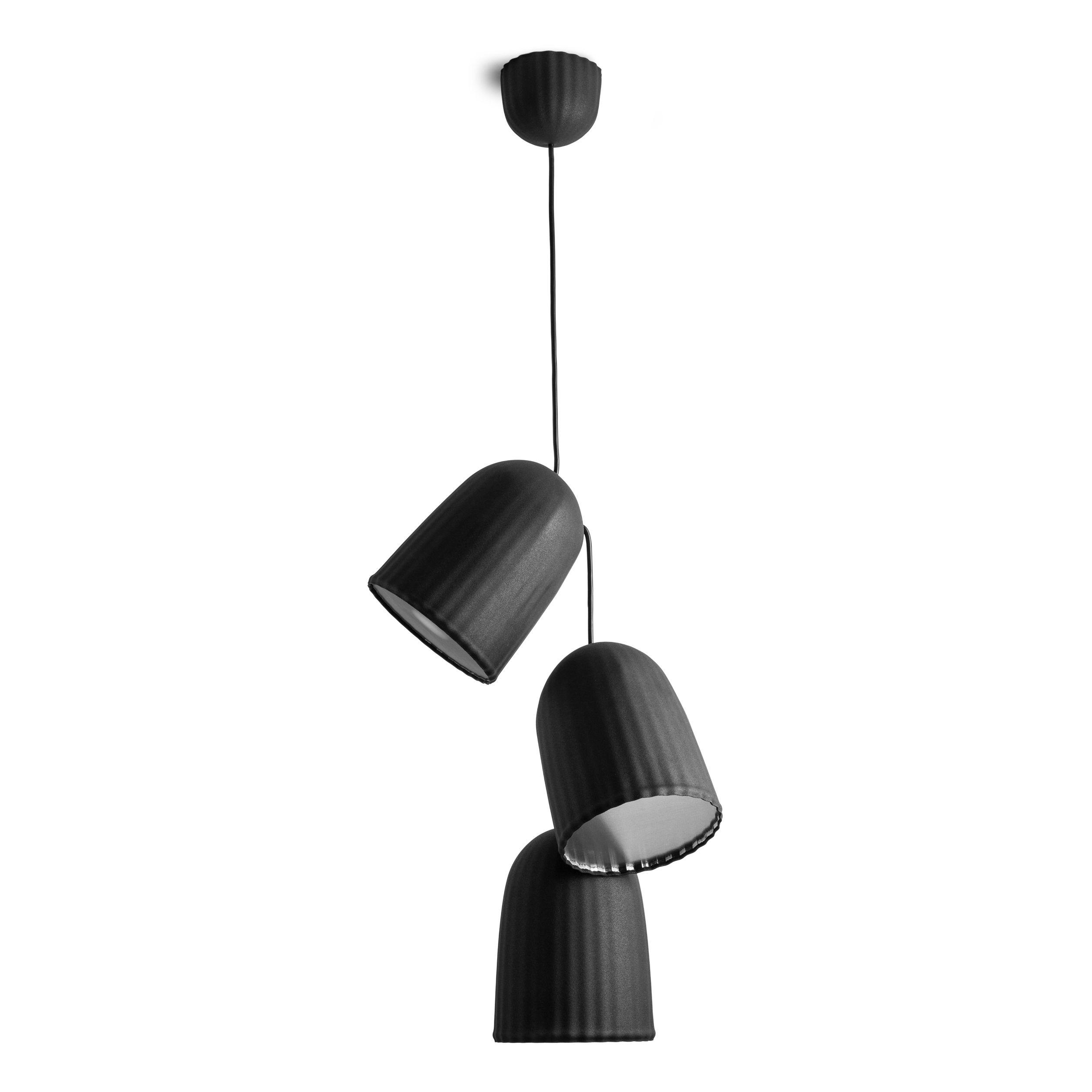 suspension chains multiple 3 abat jours 1 c ble noir petite friture. Black Bedroom Furniture Sets. Home Design Ideas