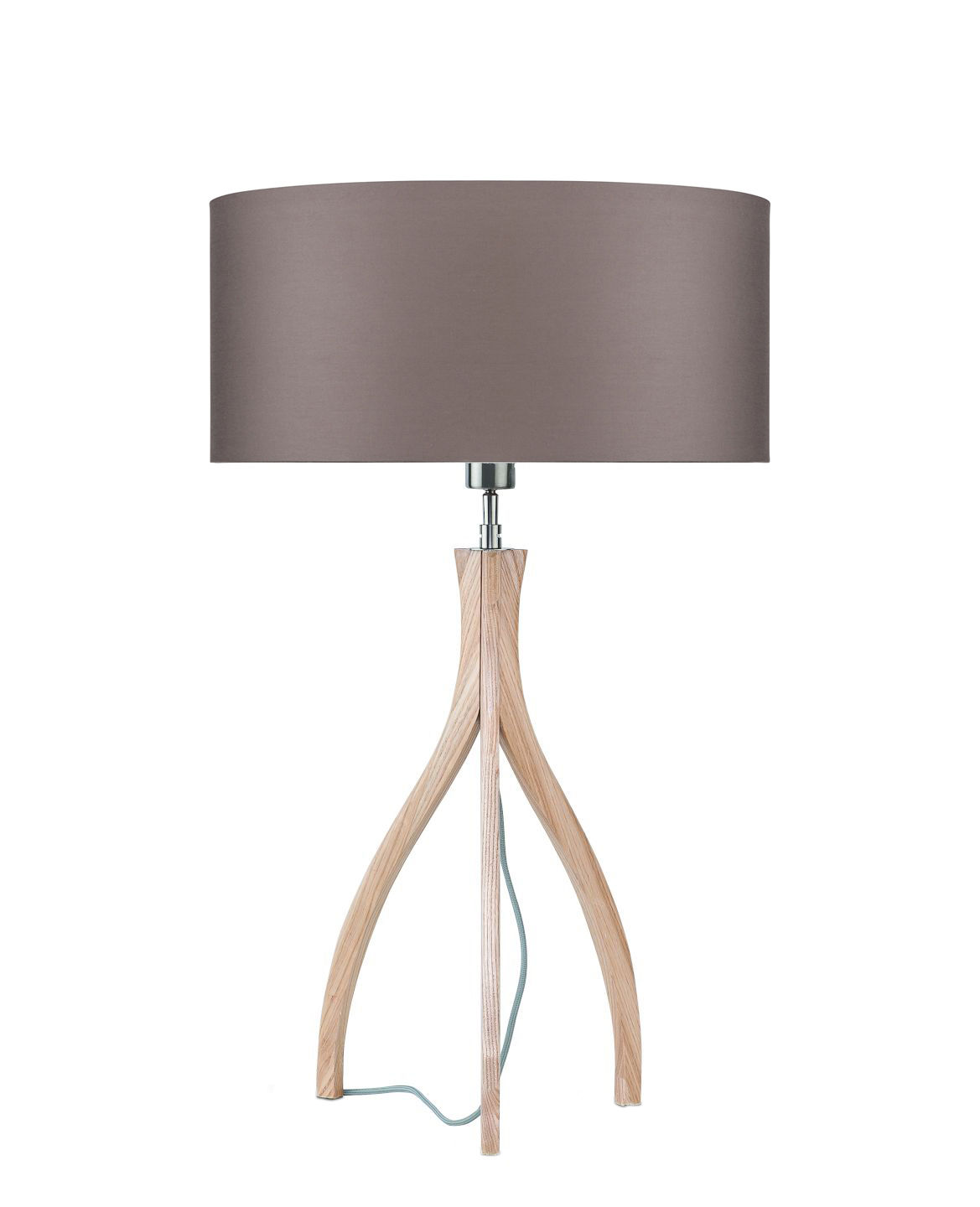Lighting - Table Lamps - Montréal Table lamp - / Wood & fabric by It's about Romi - Smoked grey / Wooden base - Ashwood, Cotton