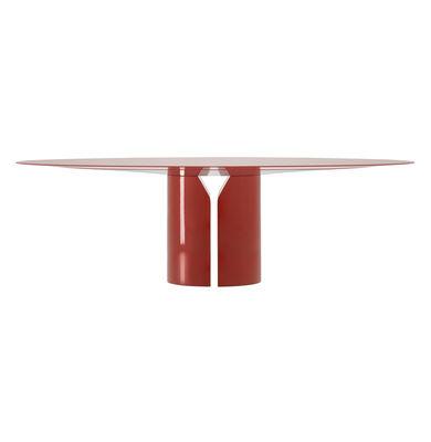 Table ovale NVL / 200 x 120 cm - By Jean Nouvel - MDF Italia rouge/orange en bois