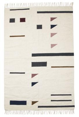 Tapis Kelim Triangles / Large - 140 x 200 cm - Ferm Living blanc/multicolore en tissu