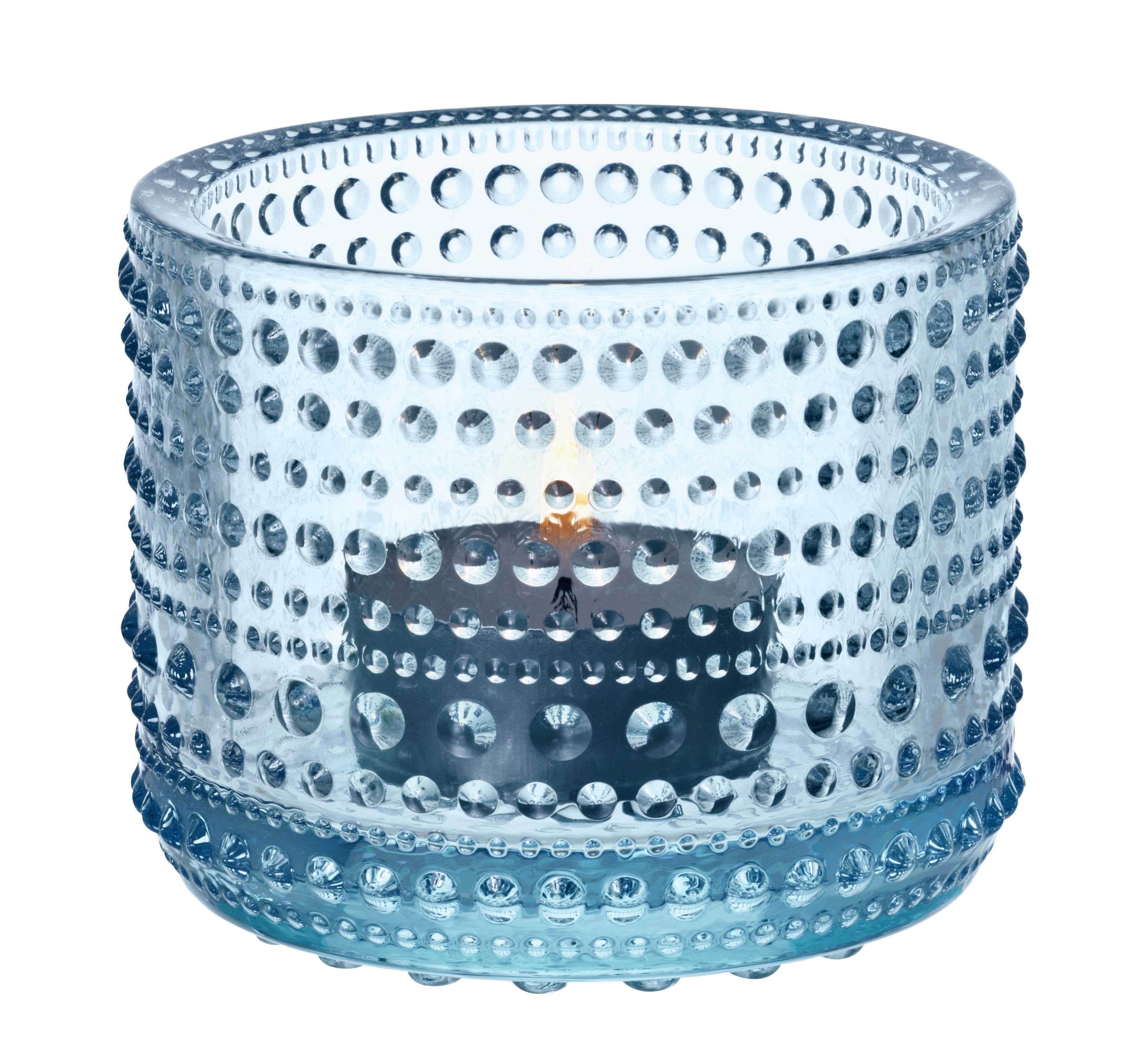 Dekoration - Kerzen, Kerzenleuchter und Windlichter - Kastehelmi Windlicht / H 6,4 cm - Iittala - Hell blau - Glas