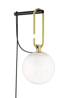Luminaire - Appliques - Applique nh Wall / Verre soufflé & laiton - Artemide - Noir / Laiton - Laiton brossé, Métal, Verre soufflé