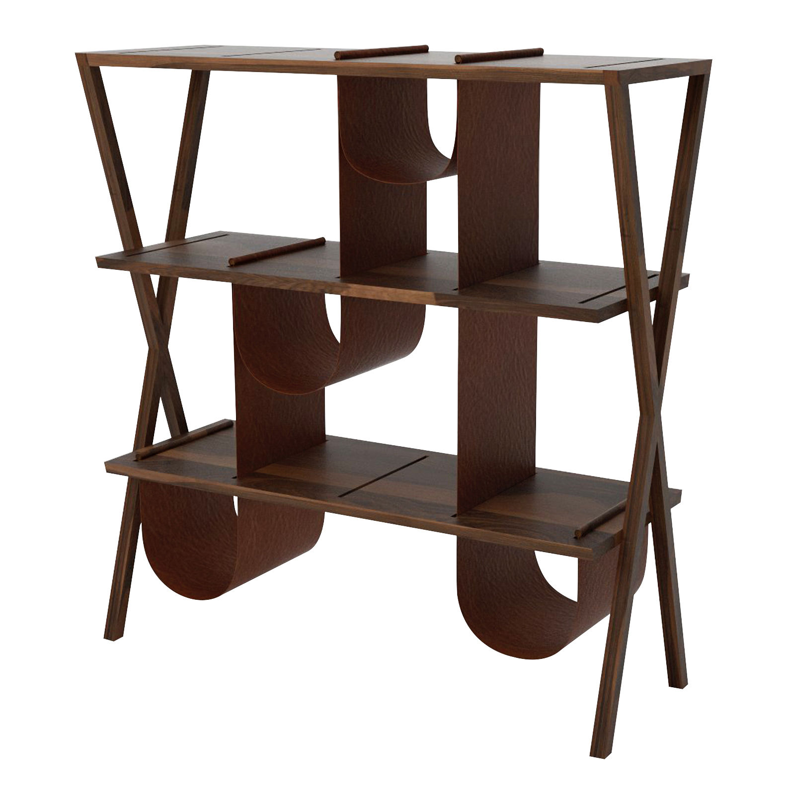 Furniture - Bookcases & Bookshelves - Josè Bookcase - Walnut & leather / L 116 x H 120 cm by Valsecchi 1918 - Walnut / Brown leather - Full grain leather, Solid walnut