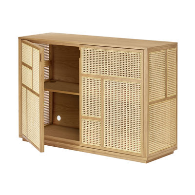 Mobilier - Commodes, buffets & armoires - Buffet Air / Meuble TV - Cannage rotin - L 120 x H 81 cm - Design House Stockholm - Chêne / Rotin naturel - Cannage de rotin, MDF plaqué chêne