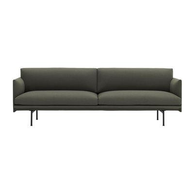Tous les designers - Canapé droit Outline / 3 places- L 220 cm - Tissu - Muuto - Vert Kaki (Fiord 961) / Pieds noirs -  Plumes, Aluminium laqué, Mousse, Tissu