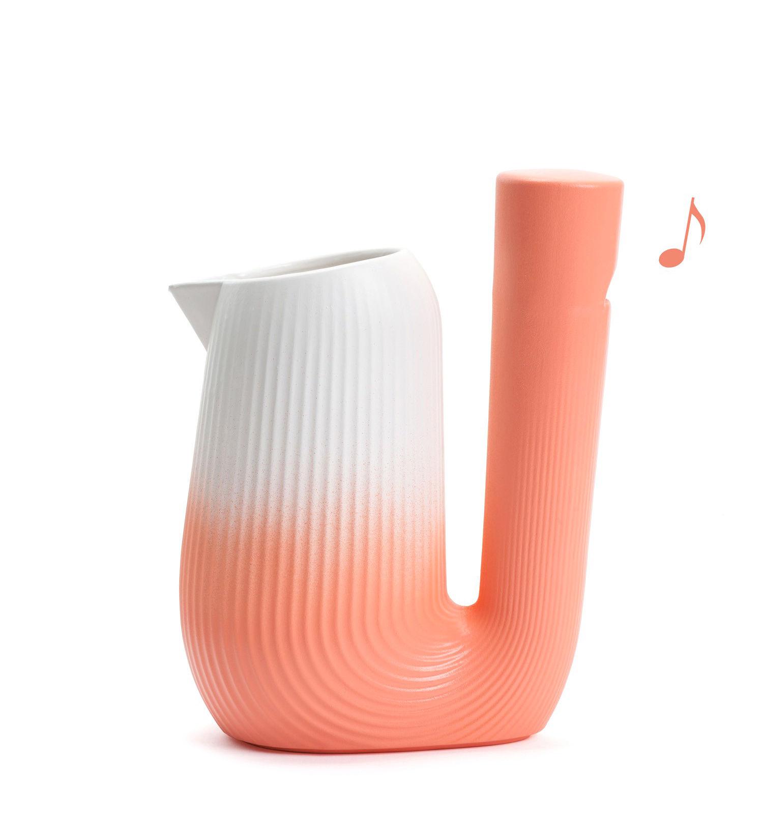 Arts de la table - Carafes et décanteurs - Carafe Pan / Sifflante - 1L - Moustache - Corail - Céramique émaillée