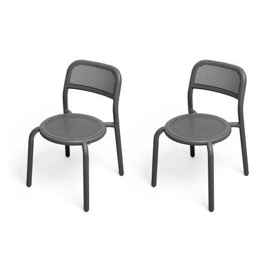 Mobilier - Chaises, fauteuils de salle à manger - Chaise empilable Toní / Set de 2 - Aluminium perforé - Fatboy - Anthracite - Aluminium