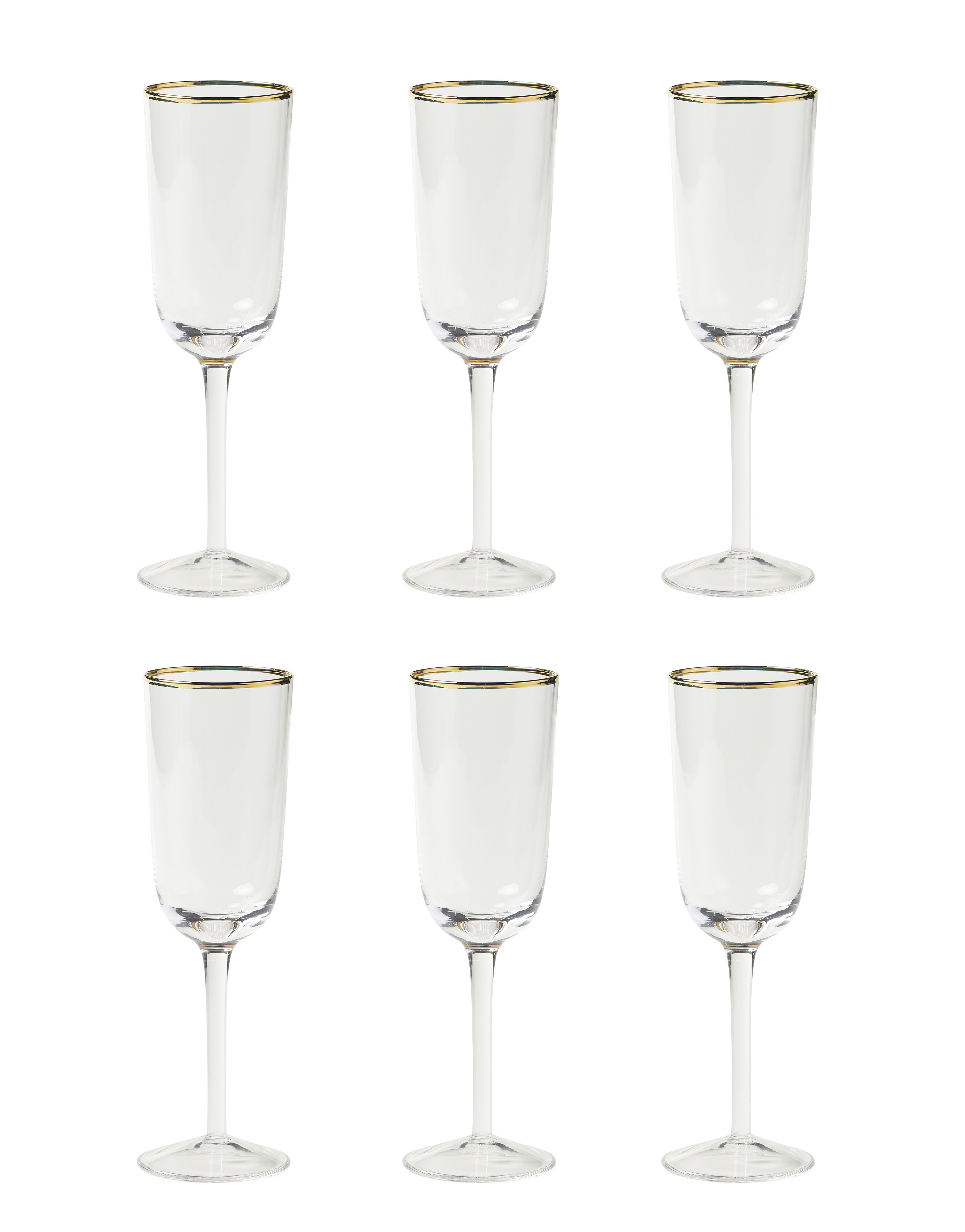 Tableware - Wine Glasses & Glassware - Decò Champagne glass - / Set of 6 - H 19.5 cm by Bitossi Home - Transparent - Blown glass