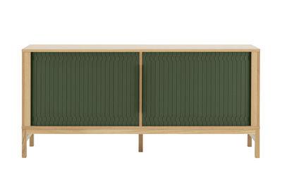 Furniture - Dressers & Storage Units - Jalousi Dresser - / L 161 cm - Wood & plastic curtains by Normann Copenhagen - Dark green / Wood - MDF veneer oak, Plastic, Solid oak