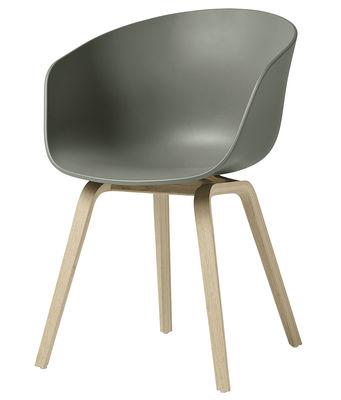 Chaise About a chair AAC22 Plastique pieds bois Hay bois naturel,vert de gris en matière plastique