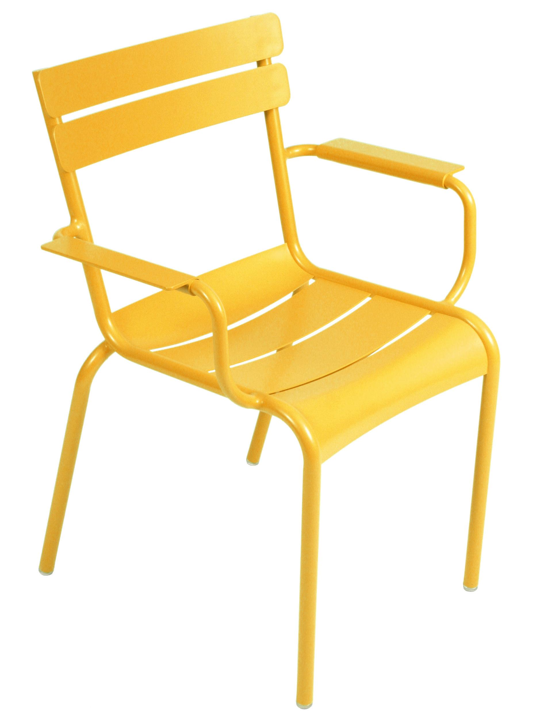 Mobilier - Chaises, fauteuils de salle à manger - Fauteuil empilable Luxembourg / Aluminium - Fermob - Miel - Aluminium laqué