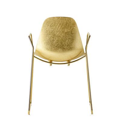 Mobilier - Chaises, fauteuils de salle à manger - Fauteuil Mammamia Sled / Métal finition feuille d'or - Piètement luge - Opinion Ciatti - Feuille d'or / Structure or 24K - Acier plaqué or 24K, Aluminium, Feuille d'or