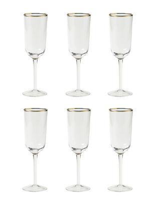Arts de la table - Verres  - Flûte à champagne Decò / Set de 6 - H 19,5 cm - Bitossi Home - Transparent - Verre soufflé