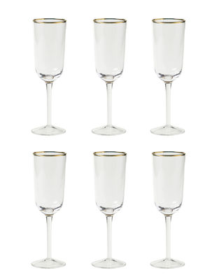 Tavola - Bicchieri  - Flûte da champagne Decò - / Set da 6 - H 19,5 cm di Bitossi Home - Trasparente - vetro soffiato