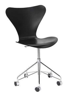 Arredamento - Sedie ufficio - Girevole sedia Série 7 - / Frassino tinto di Fritz Hansen - Frassino nero / Cromato - Acciaio cromato, Compensato di frassino tinto