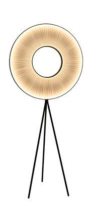 Illuminazione - Lampade da terra - Lampada Iris LED / H 165 cm - Tessuto bianco & illuminazione recto-verso - Dix Heures Dix - H 165 cm / Tessuto bianco & piede nero - Metallo, Tessuto