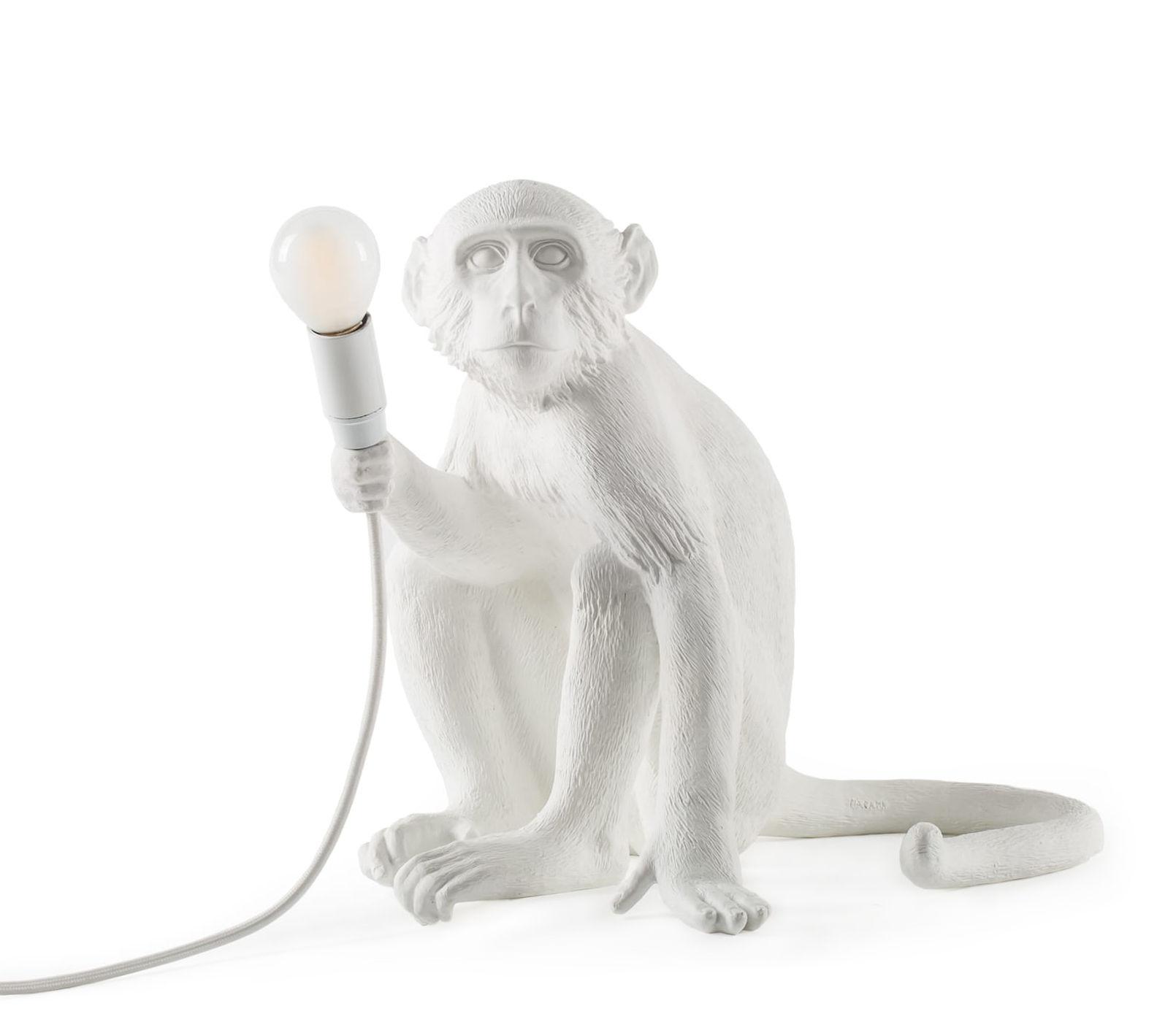 Luminaire - Lampes de table - Lampe de table Monkey Sitting / Outdoor - H 32 cm - Seletti - Blanc - Résine