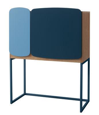 Mobilier - Meubles de rangement - Meuble de rangement Legato / L 82 x H 107 cm - Casamania - Bleu & bois naturel - MDF, Mélamine, Métal