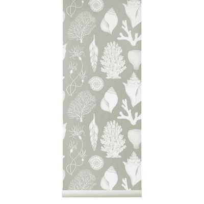 Papier peint Shells / 1 rouleau - Larg. 53 cm - Ferm Living bleu en papier