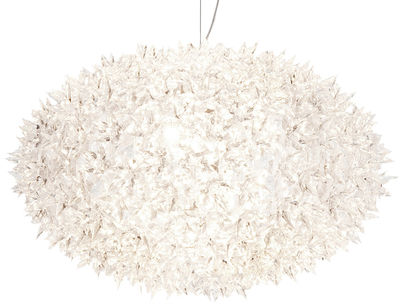 Lighting - Pendant Lighting - Big Bloom Pendant - Extra-large version - Elliptical - Ø 80 cm x H 51,5 cm by Kartell - Transparent crystal - Polycarbonate