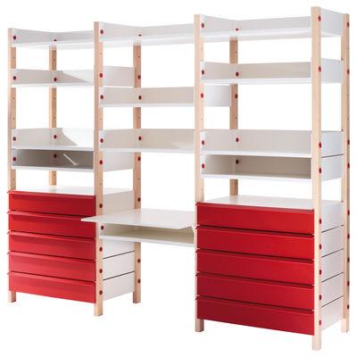 Mobilier - Etagères & bibliothèques - Rangement My storage / Bureau intégré - H 173 cm - Compo 6 - L 208 cm - Magis Collection Me Too - Compo 6 - H173xL208 cm / Rouge - ABS, Hêtre massif
