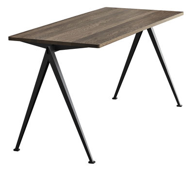 Furniture - Office Furniture - Pyramid n°01 Table rectangulaire - / 140 x 75 cm - Re-issue 1959 by Hay - 140 x 75 / Smoked oak & black - Lacquered steel, Smoked oak