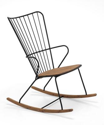 Rocking chair Paon Métal bambou Houe noir,bambou naturel en métal