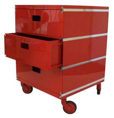 Plus Unit Rollcontainer 3 stapelbare Schubladen - auf Rollen - Magis - Rot