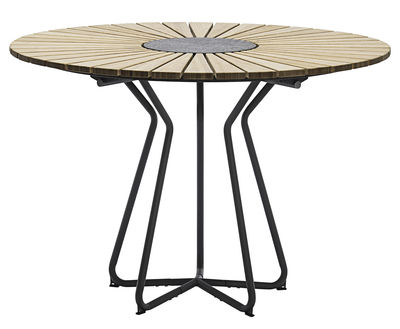 Outdoor - Garden Tables - Circle Round table - Ø 110 cm by Houe - Bamboo / Grey feet - Bamboo, Epoxy lacquered metal, Granite