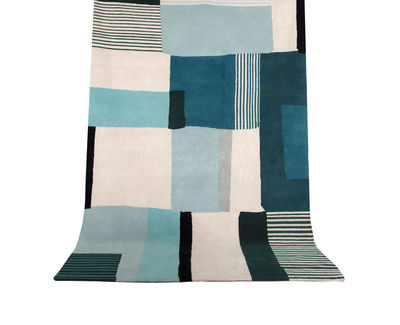 Decoration - Rugs - Boro Small Rug - / 170 x 240 cm by Maison Sarah Lavoine - Cream / Blue - Cotton, Wool