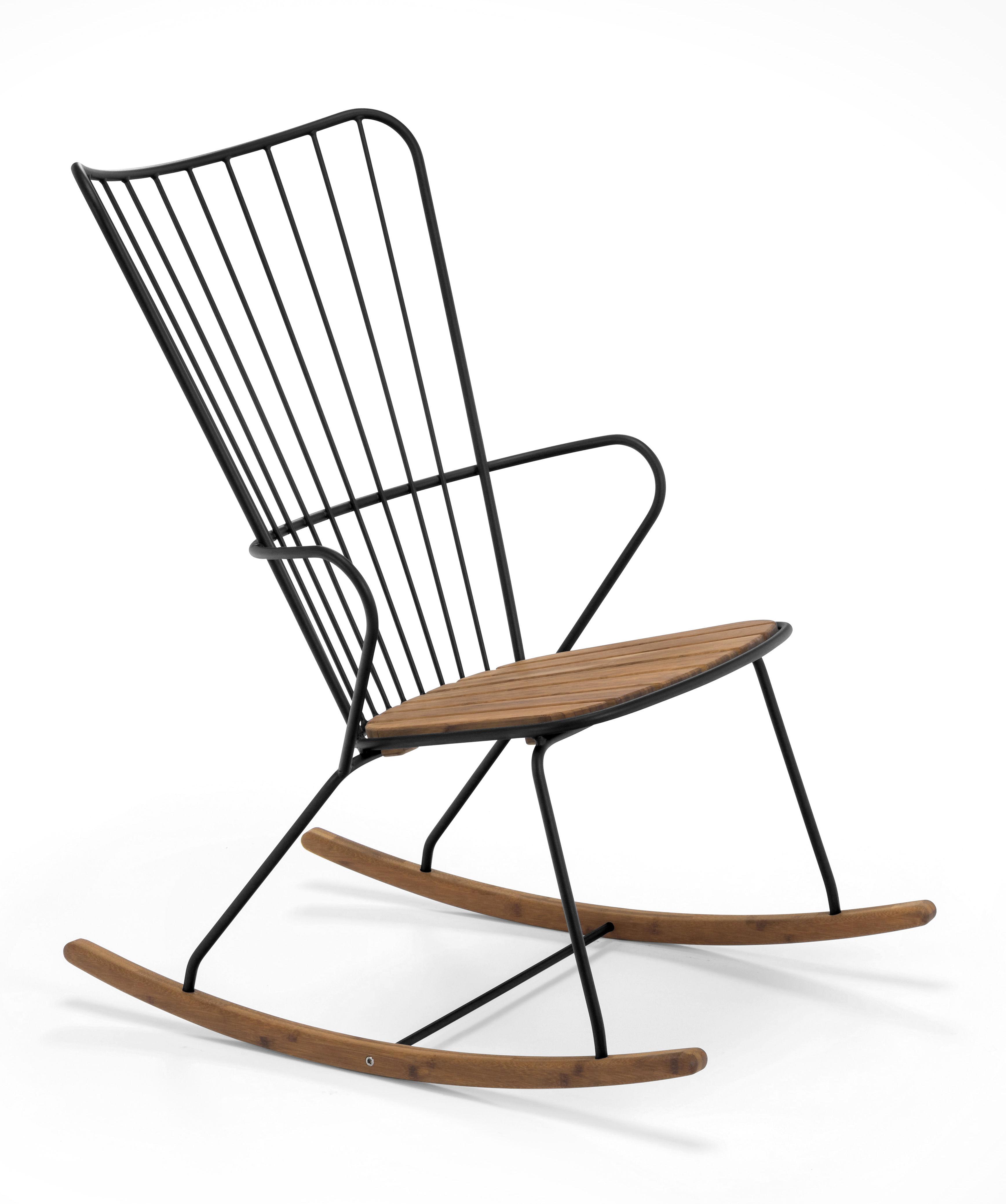 Dekoration - Dekorationsartikel - Paon Schaukelstuhl / Metall & Bambus - Houe - Schwarz - Acier revêtement poudre, Bambus