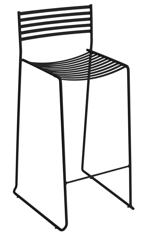 Arredamento - Sgabelli da bar  - Sedia da bar Aero di Emu - Nero - Acciaio laccato