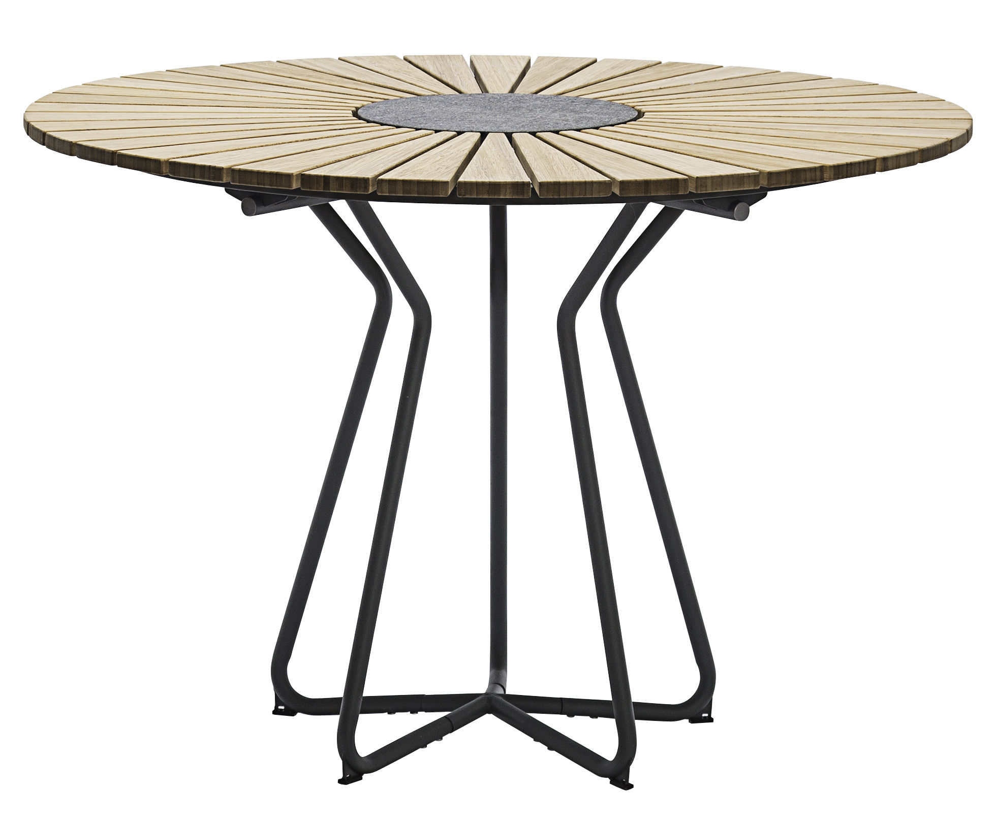 Outdoor - Tables de jardin - Table ronde Circle /  Ø 110 cm - Bambou & granit - Houe - Bambou / Piètement gris - Bambou, Granit, Métal laqué époxy