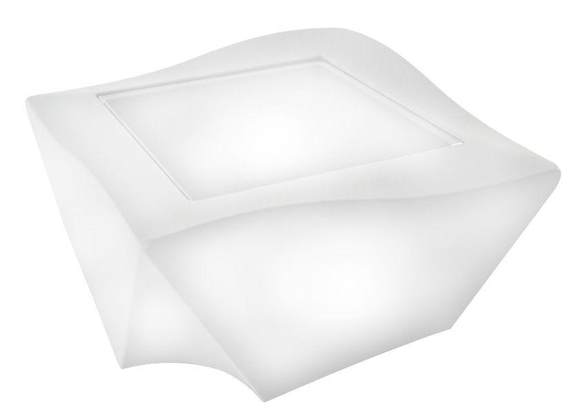 Arredamento - Tavolini  - Tavolino Kami Ni - versione luminosa di Slide - Luminoso bianco - Polietilene riciclabile, Vetro