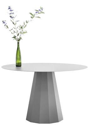 Tendenze - A tavola! - Tavolo rotondo Ankara L - / Ø 120 x H 74 cm di Matière Grise - Grigio alluminio - Acciaio