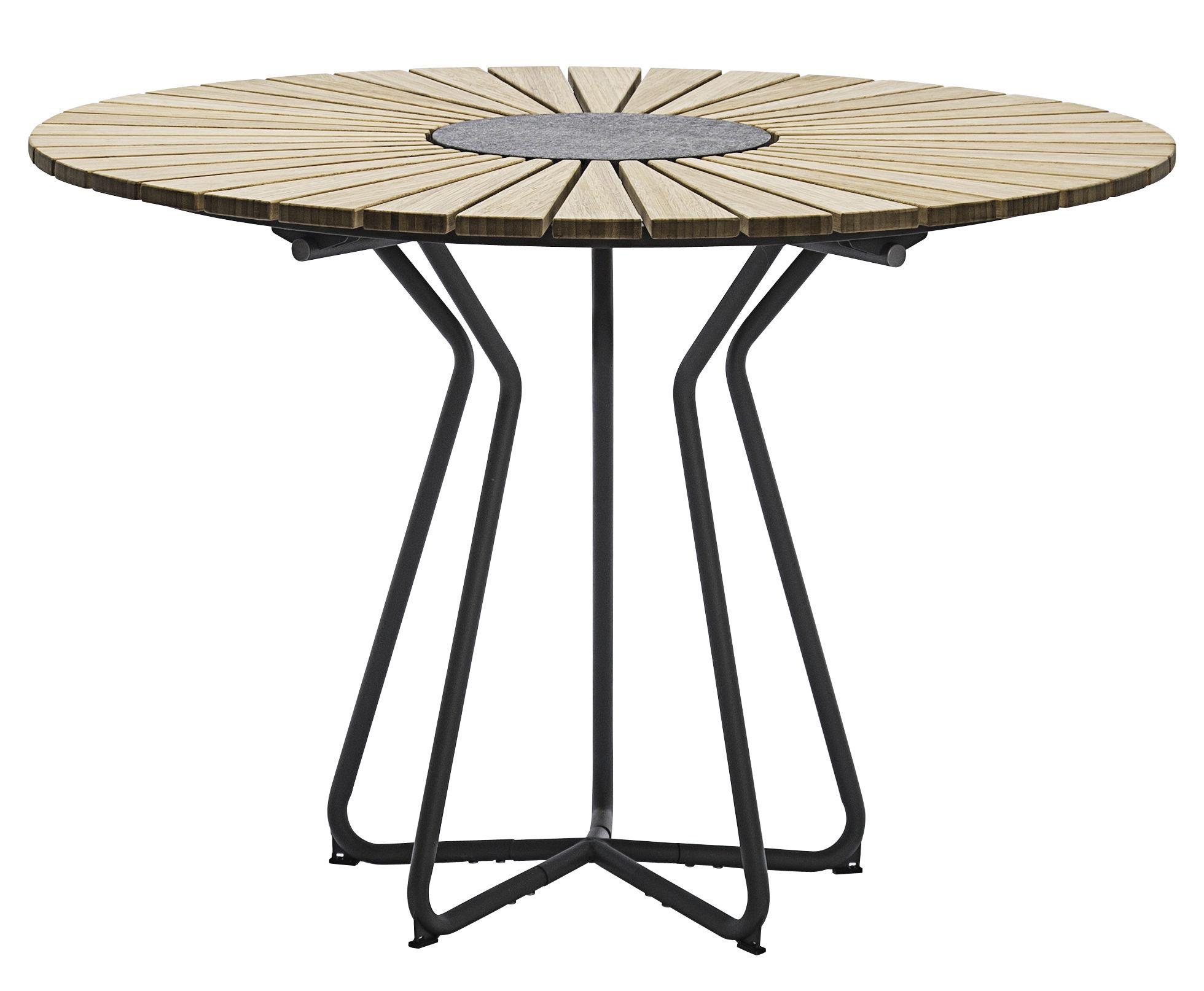 Outdoor - Tavoli  - Tavolo da giardino Circle /  Ø 110 cm - bambù & granito - Houe - Bambù / Base grigio - Bambù, Granito, Metallo rivestito in resina epossidica