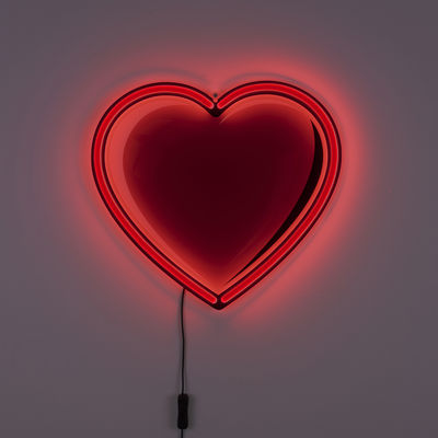 Decoration - Children's Home Accessories - Néon Cœur Wall light with plug - / Valentines Limited edition by Seletti - Red - Acrylic, Glass