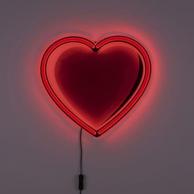 Dekoration - Für Kinder - Néon Cœur Wandleuchte mit Stromkabel / limitierte Valentinstags-Auflage - Seletti - Rot - Glas, Polyacryl