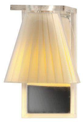 Luminaire - Appliques - Applique Light Air / Abat-jour tissu - Kartell - Beige / Plaque murale : miroir - Technopolymère thermoplastique, Tissu